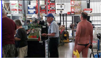 "I've done a number of satirical ""People of Walmart"" posts here on FOTM. I do them as a way to chronicle how Americans have lost our sense of propriety. Too many of us don't make even a minimum effort at pulling ourselves together before we go out of our homes, but instead parade our slovenly appearances for the world to see. I thought I'd seen them all, until I saw this pic: I suppose we should be thankful that we are spared a frontal view of man-in-thong. See FOTM's ""People of Walmart"" collection:"
